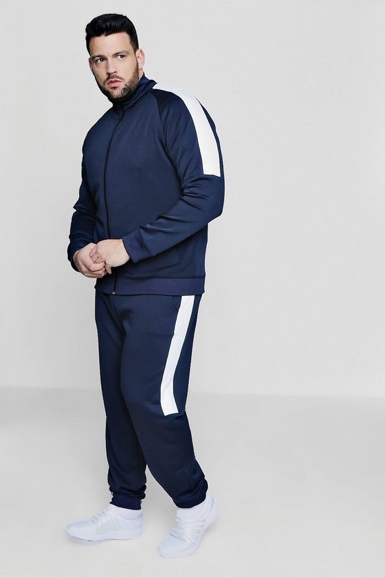 Big And Tall Skinny Fit Panel Tricot Tracksuit