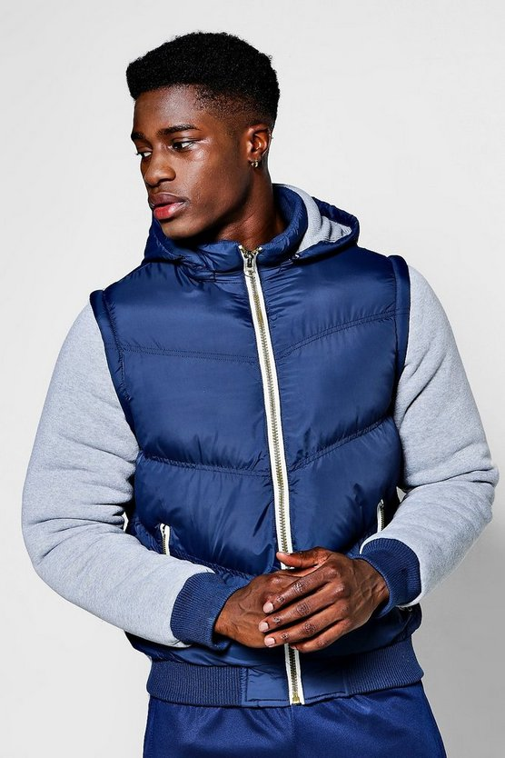 Mens Navy Padded Jacket With Hood And Jersey Sleeves