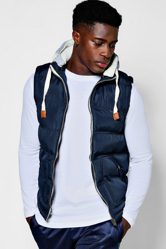 Padded Gilet With Jersey Hood