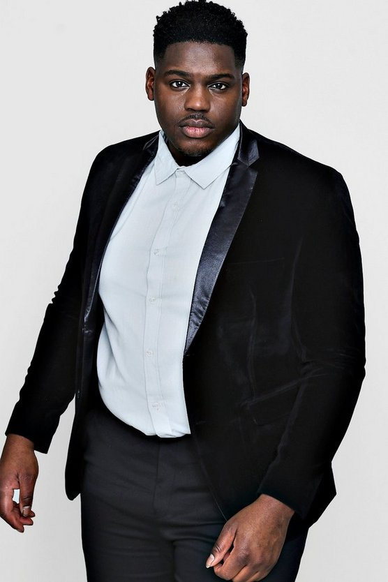 Big And Tall Black Velvet Tux Jacket