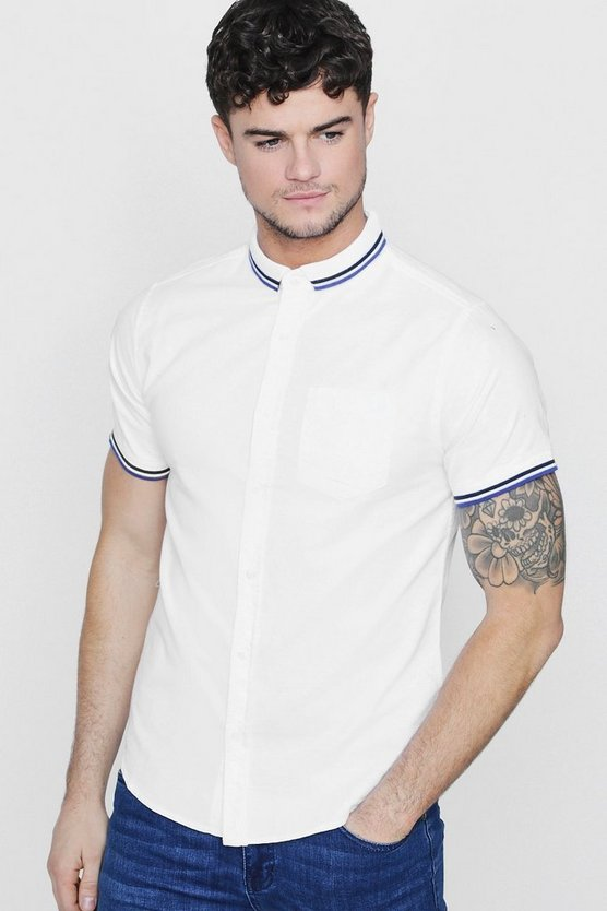 Short Sleeve Shirt With Ribbed Collar