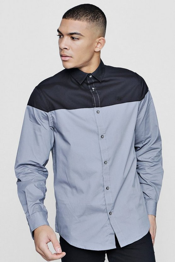 Long Sleeve Colour Block Shirt