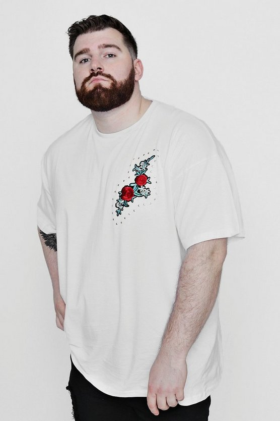 Big And Tall Single Chest Embroidered Rose T-Shirt