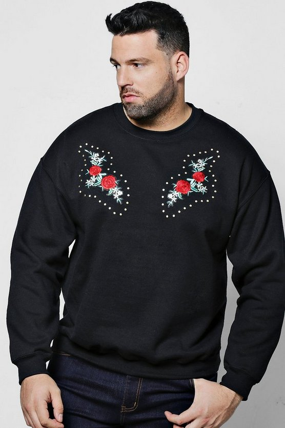 Big And Tall Twin Embroidered Studded Sweater