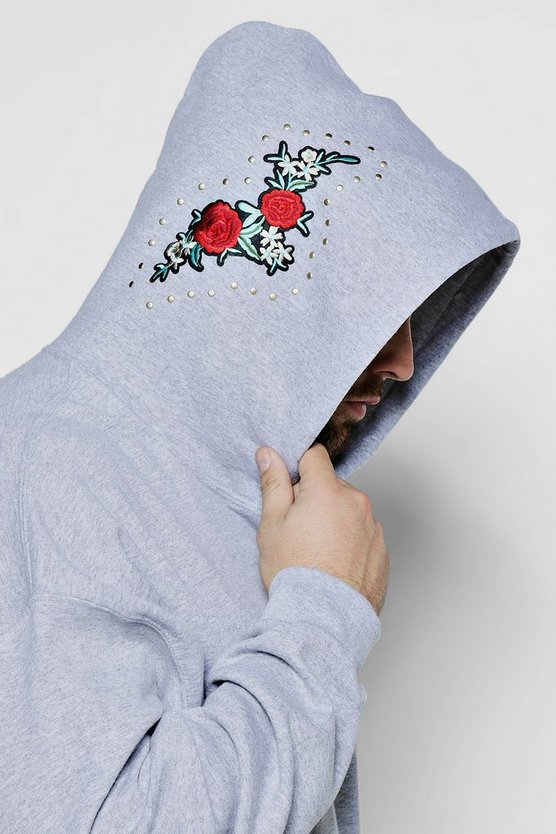 Big And Tall Twin Rose Embroidered Hoodie