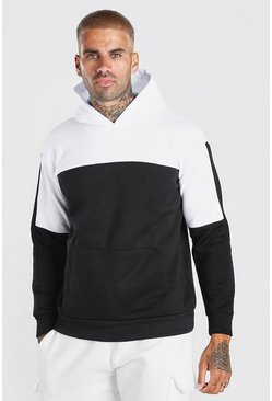 Colour Block Over The Head Hoodie, Черный
