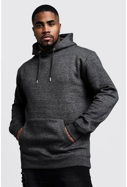 Big And Tall Basic Over The Head Fleece Hoodie, Charcoal, Uomo