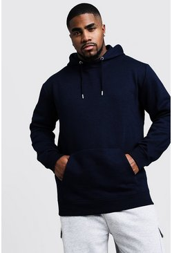 Herr Navy Big And Tall Basic Over The Head Fleece Hoodie