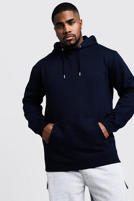 Mens Navy Big And Tall Basic Over The Head Fleece Hoodie