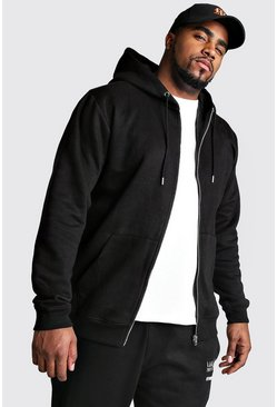 Big And Tall Basic Zip Through Fleece Hoodie, Black, Uomo
