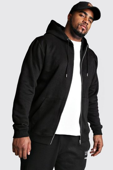 Black Big And Tall Basic Zip Through Fleece Hoodie