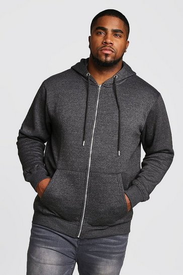 Mens Charcoal Big And Tall Basic Zip Through Fleece Hoodie