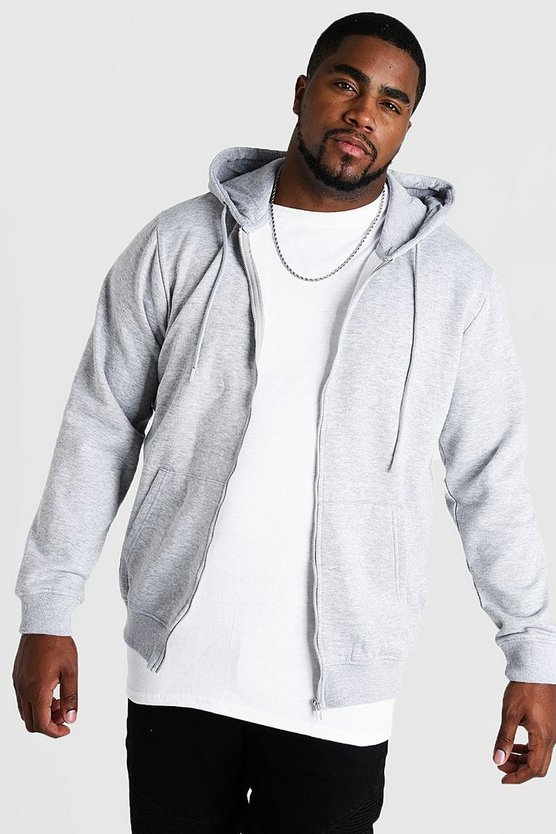 Big And Tall Basic Zip Through Fleece Hoodie, Grey, Uomo