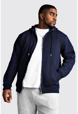 Mens Navy Big And Tall Basic Zip Through Fleece Hoodie