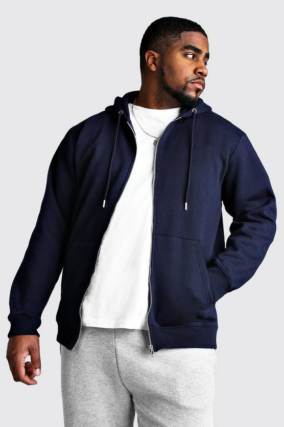 Big And Tall - Sweat à capuche basique zippé en polaire, Marine, Homme