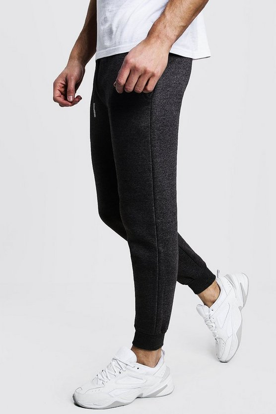 Slim Fit Fleece Joggers, Charcoal, Uomo