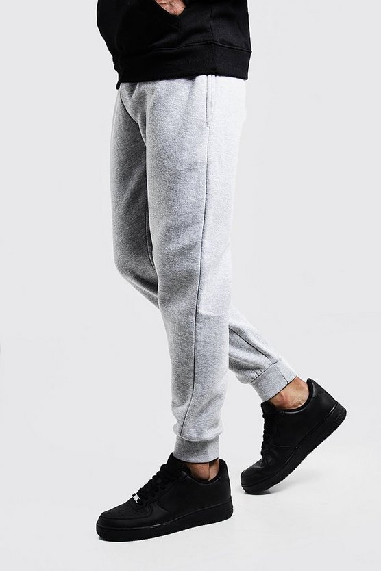 Mens Grey Slim Fit Fleece Joggers
