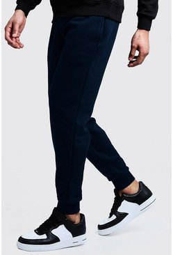 Mens Navy Slim Fit Fleece Joggers