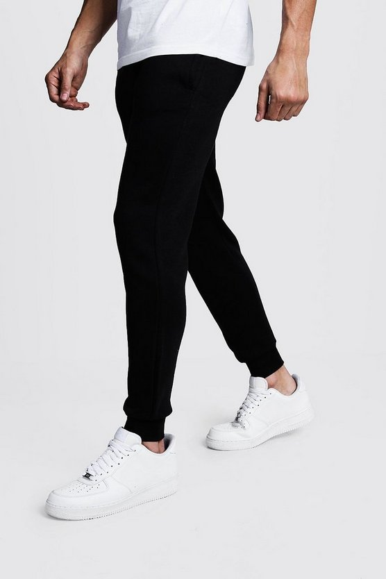 Mens Black Basic Skinny Fit Fleece Joggers