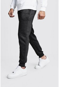 Einfache Skinny Fit Fleece-Jogginghose, Anthrazit, Herren