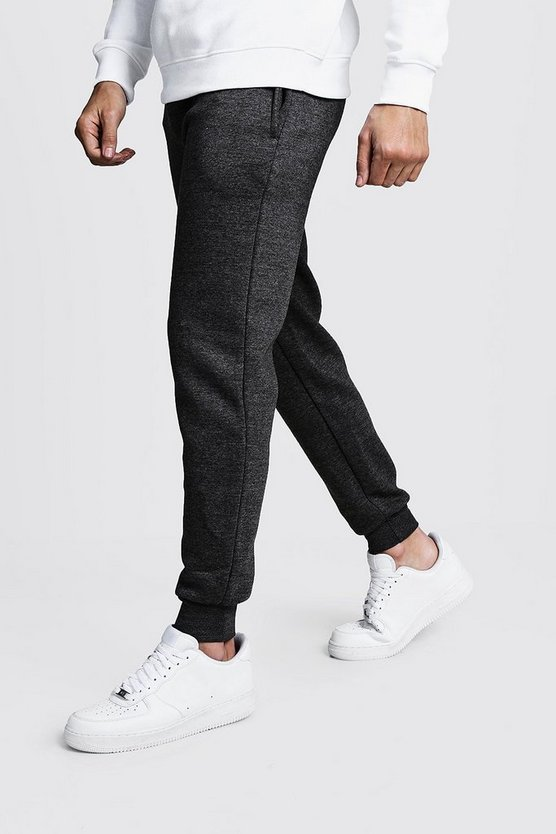 Mens Charcoal Basic Skinny Fit Fleece Joggers