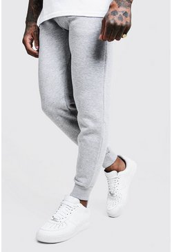 Mens Grey Basic Skinny Fit Fleece Joggers