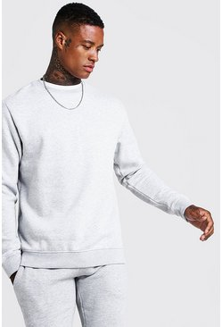 Mens Grey Basic Crew Neck Fleece Sweatshirt