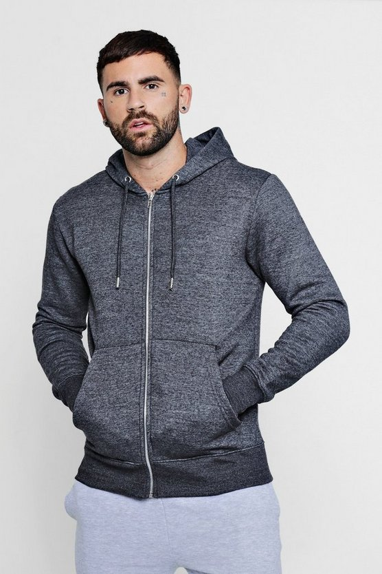 Basic Zip Through Fleece Hoodie