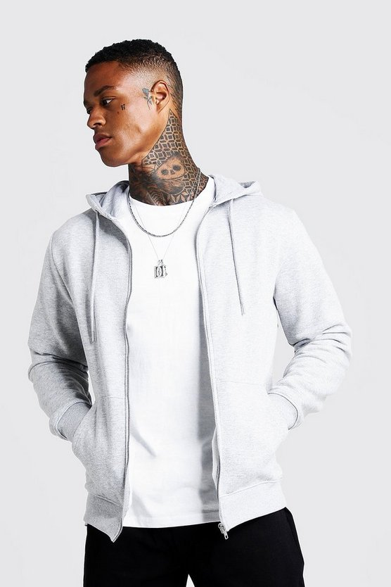 Mens Grey Basic Zip Through Fleece Hoodie