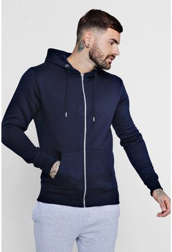 Herr Navy Basic Zip Through Fleece Hoodie