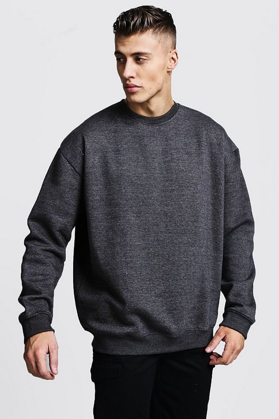 Mens Charcoal Fleece Oversized Sweatshirt