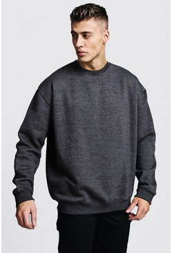 Oversized-Pullover aus Fleece, Anthrazit