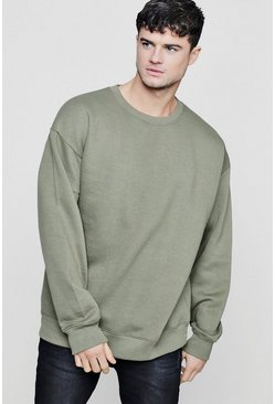 Khaki Fleece Oversized Sweatshirt