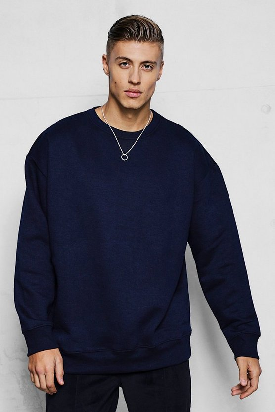 Mens Navy Fleece Oversized Sweatshirt