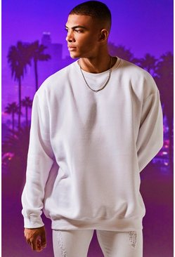 Mens White Fleece Oversized Sweatshirt