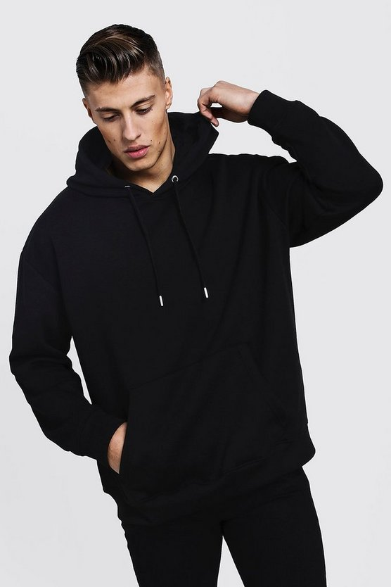 Mens Black Fleece Oversized Over The Head Hoodie