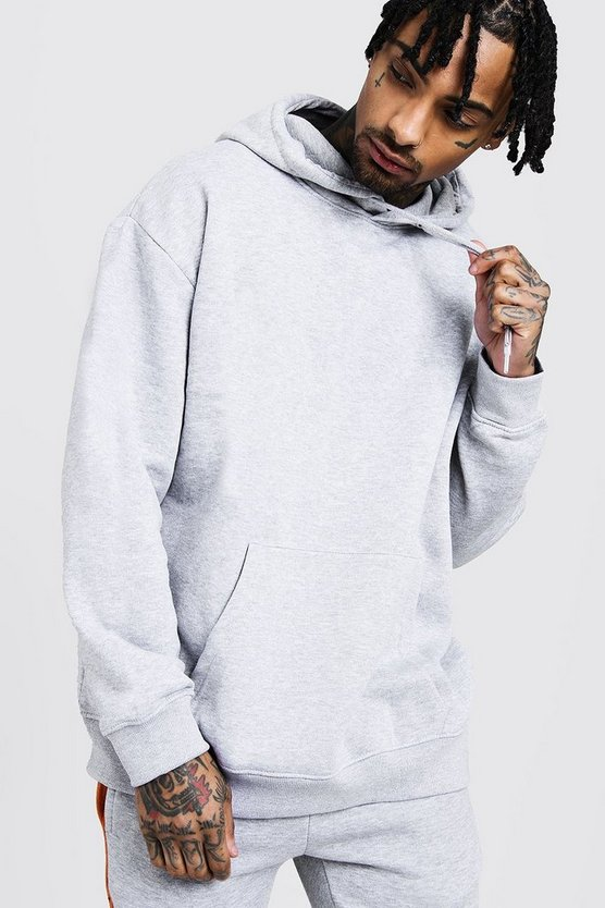 Mens Grey Fleece Oversized Over The Head Hoodie