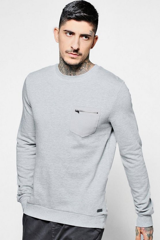 Pocket Crew Neck Sweater