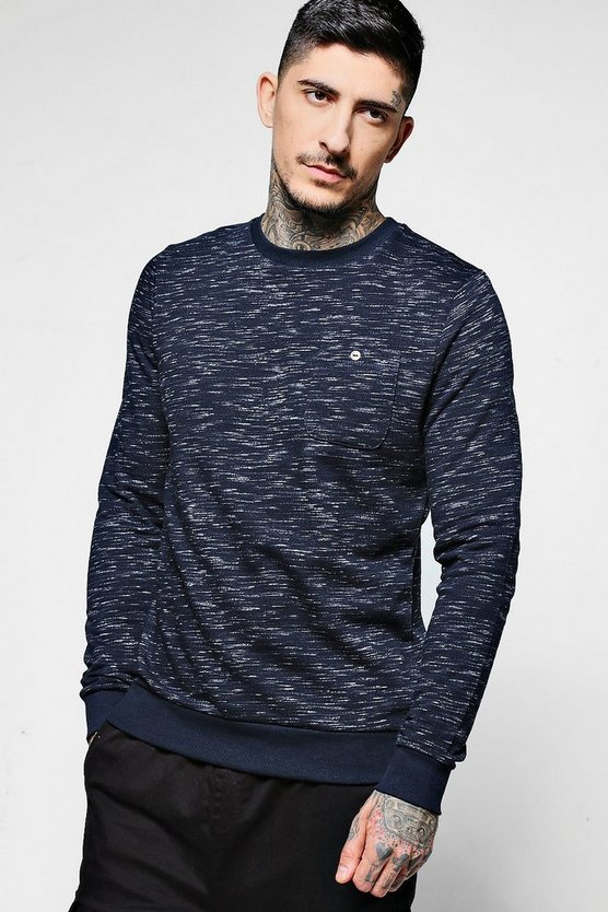 Space Dye Crew Neck Sweater With Pocket