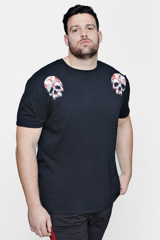 Big And Tall Camo Skull Print T-Shirt