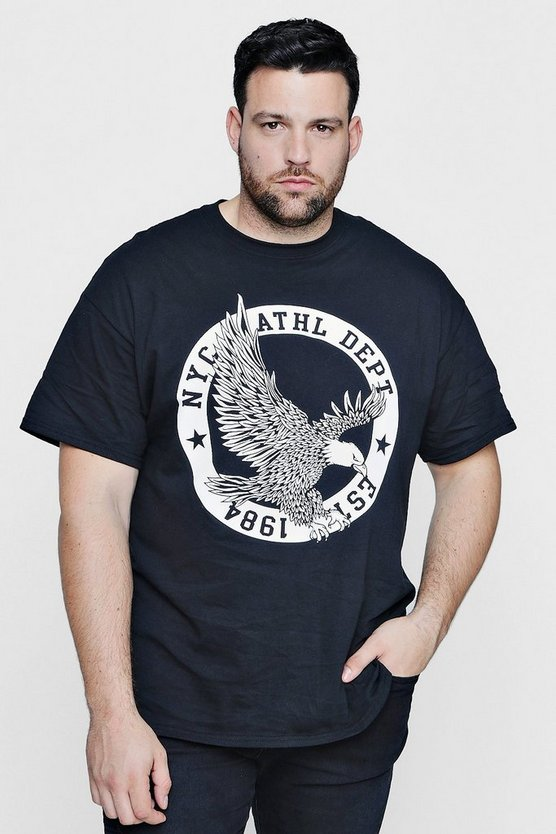 Mens Black Big And Tall Eagle Print T-Shirt