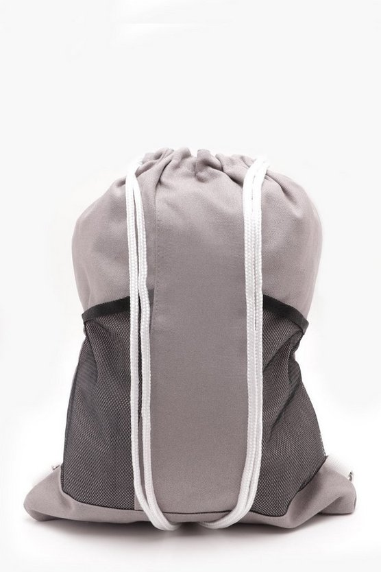 Grey Mesh Panel Drawstring Bag