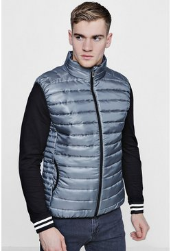 Mens Slate Funnel Neck Sleeveless Puffer