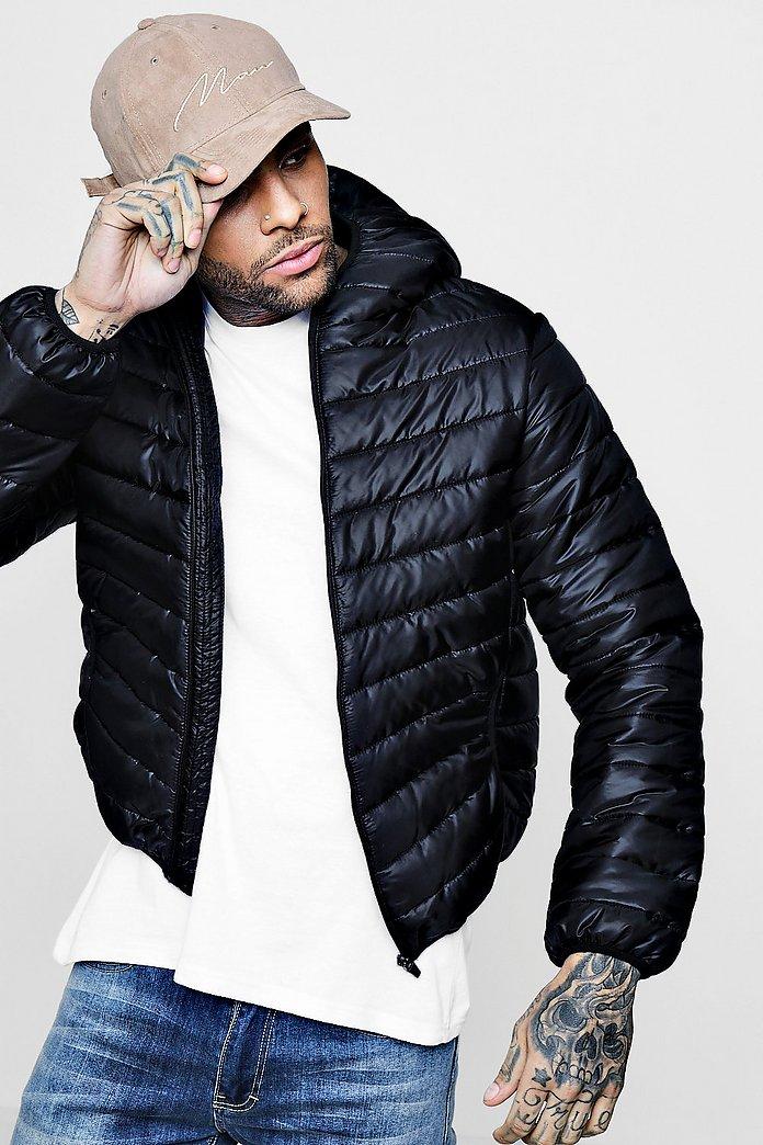 Hooded Zip Through Lightweight Puffer Jacket   boohoo