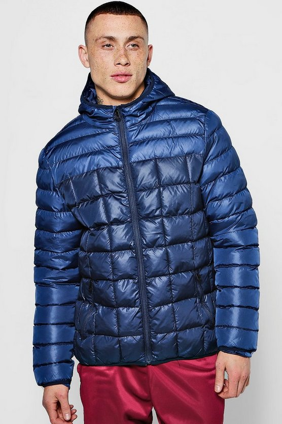 Zip Through Colour Block Puffer