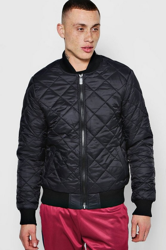 Mens Black Diamond Quilted Bomber