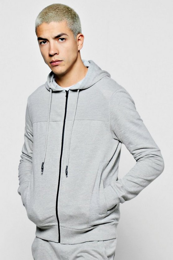 Ottoman Rib Zip Through Hoodie