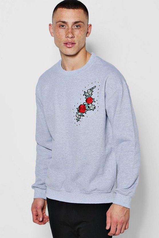 Crew Neck Sweat One Side Floral Embroidery