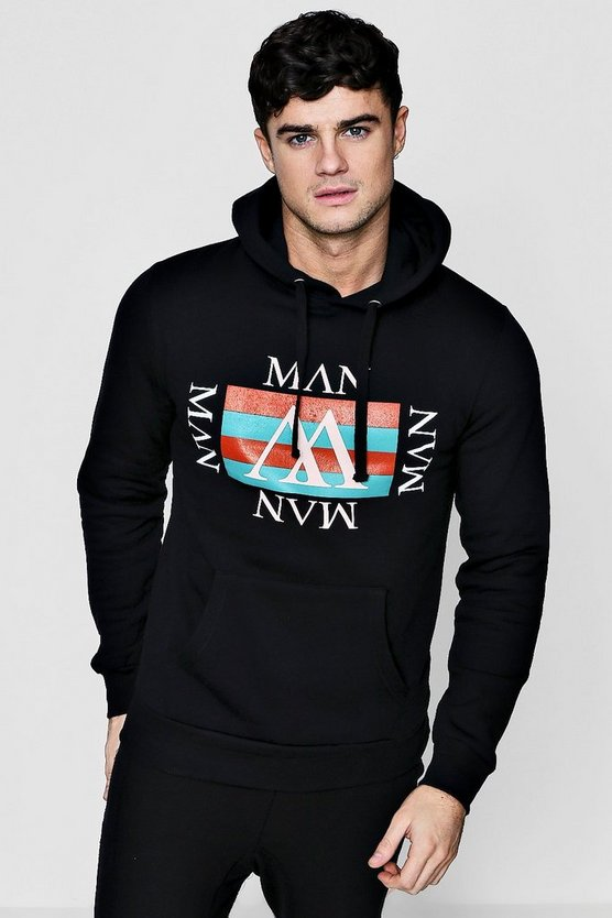 MAN Retro Repeat Printed Hoodie