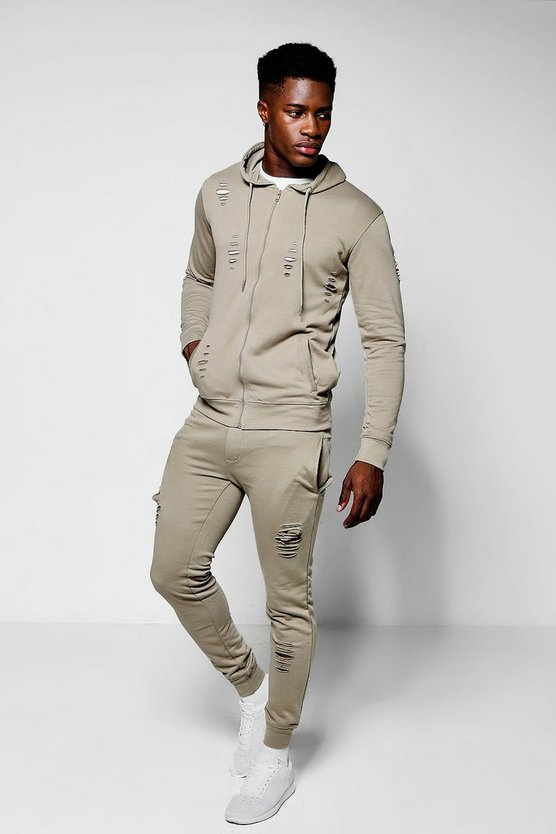 Destroyed Skinny Fit Hooded Tracksuit